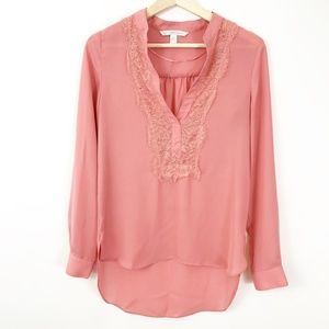 LC Lauren Conrad Pink Blouse with Lace, XS